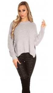 Trendy KouCla knit sweater with side- Button Grey