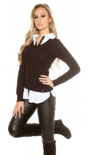 Trendy KouCla 2in1 shirt & jumper Black