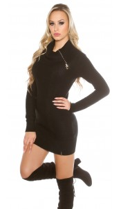 knit dress with XL collar Black