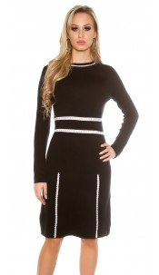 Sexy KouCla fine knit dress long-sleeved Black