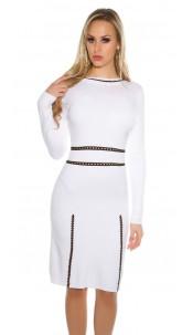 Sexy KouCla fine knit dress long-sleeved White