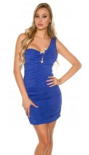 Sexy One-Arm Party Dress with rhinestone buckle Blue