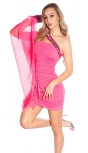 Sexy one-arm-minidress, gathered w. glitterstones Fuchsia