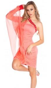 Sexy one-arm-minidress, gathered w. glitterstones Salmon