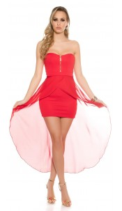 Sexy KouCla high-low-dress with zip Red