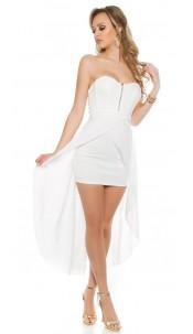 Sexy KouCla high-low-dress with zip White