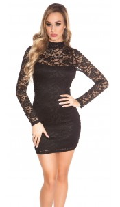 Sexy KouCla minidress backless with lace Black