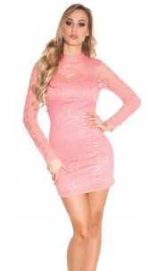 Sexy KouCla minidress backless with lace Coral