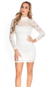 Sexy KouCla minidress backless with lace White
