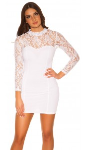 Sexy KouCla minidress with lace Cream