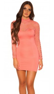 Sexy KouCla minidress with lace Salmon