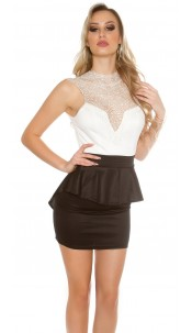 Sexy KouCla minidress with lace on chest Whiteblack