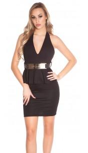 Sexy KouCla Neck-Minidress with belt Black