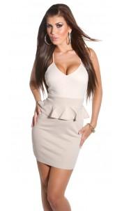 Sexy KouCla minis dress with peplum Beige