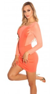 Sexy KouCla minidress with transparent application Coral