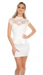 Sexy KouCla minidress with lace and peplum White