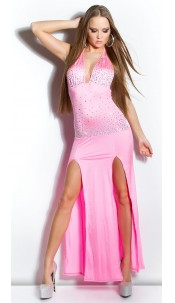 Sexy KouCla neck dress with rhinestones and cutout Pink