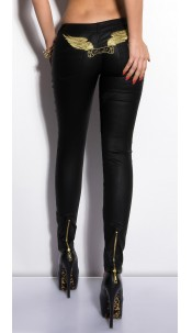 Sexy KouCla LetherLook Pants with embroidery Black