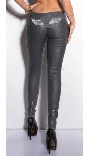 Sexy KouCla LetherLook Pants with embroidery Grey