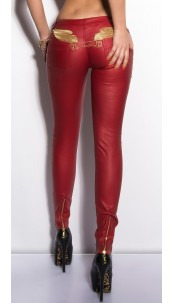 Sexy KouCla LetherLook Pants with embroidery Red