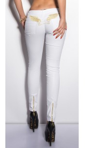 Sexy KouCla LetherLook Pants with embroidery White