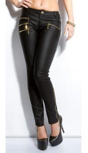 Sexy Koucla Letherlook-Pants with golden zips Black