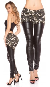 Sexy KouCla pants with leatherlook Army