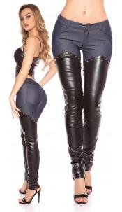 Sexy KouCla pants with leatherlook Jeansblue