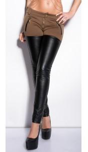 Trendy KouCla skinnypants with zips Cappuccino