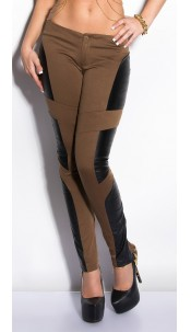 Sexy KouCla treggings with leatherlook Cappuccino