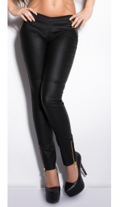 Sexy KouCla jeggings in leatherlook with zips Black