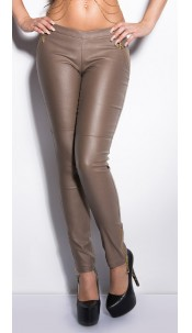 Sexy KouCla jeggings in leatherlook with zips Cappuccino