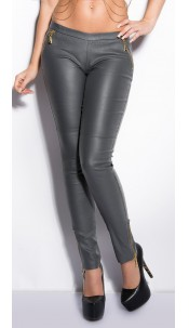 Sexy KouCla jeggings in leatherlook with zips Grey