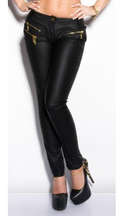 Sexy KouCla Letherlook-Pants with zips Black