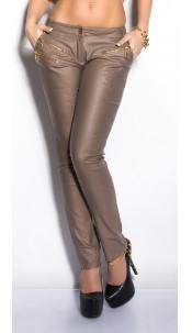 Sexy KouCla Letherlook-Pants with zips Cappuccino