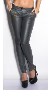 Sexy KouCla Letherlook-Pants with zips Grey