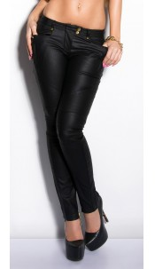 Sexy KouCla Treggings with studs and leatherlook Black