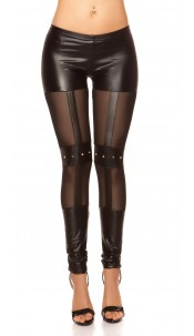 Sexy KouCla wetlook-leggings with studs Black