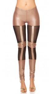 Sexy KouCla wetlook-leggings with studs Cappuccino