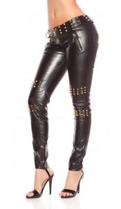 Sexy KouCla pants with studs and zips Black