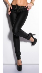 Sexy KouCla Letherlook-Pants with lacing and studs Black