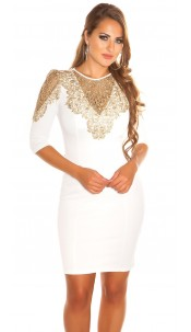 Sexy KouCla dress with Golden lace White