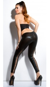 Sexy KouCla wet look leggings with lacing Black