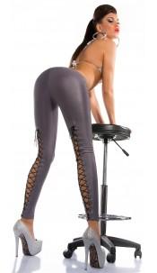 Sexy KouCla wet look leggings with lacing Grey