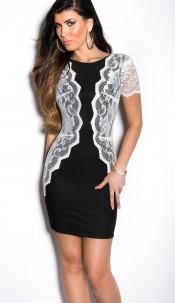 Sexy KouCla minidress with lace Blackwhite