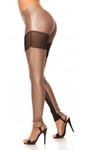 Sexy KouCla leggings with fishnet-fabric Cappuccino