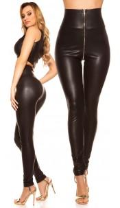 Sexy KouCla High Waist Wetlook Leggings Black