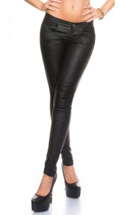 Sexy KouCla leather look trouser seam application Black