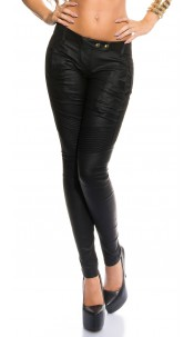Sexy KouCla Skinny BikerLook Pants Black
