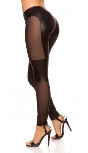 Sexy KouCla leggings with fishnet-fabric Black